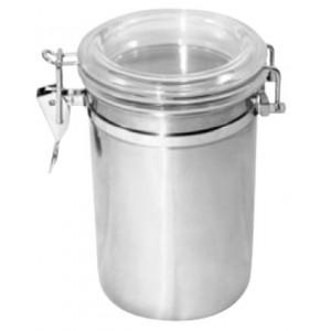 Βάζο INOX με ακρυλικό καπάκι Ø10x16hcm 23-17-704