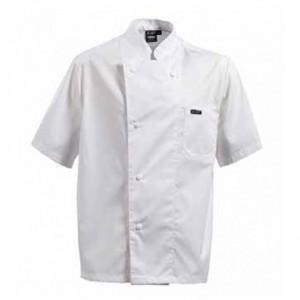 Σακάκι μάγειρα κοντομάνικο σε χρώμα λευκό με τσέπη στυλό στο αριστερό μανίκι και γιακά τύπου μάο 25-00-09x